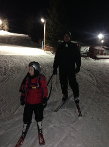 Daddy and Andrew. Andrew's 1st time skiing.