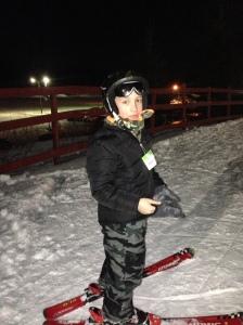 Alex skiing.
